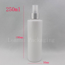 wholesale medicine containers Canada - 250ml x 20 white refillable empty makeup spray water bottle ,250cc fine mist liquid medicine plastic container with sprayer pump