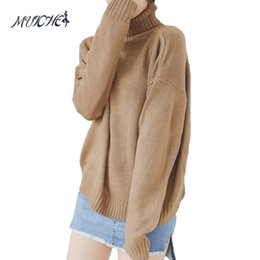 Cropped Hooded Sweater Canada - MUICHES Autumn and Winter Vintage Women Sweater Batwing Sleeve Loose Turtleneck Knitted Pullover Army Green Sweaters Crop Top