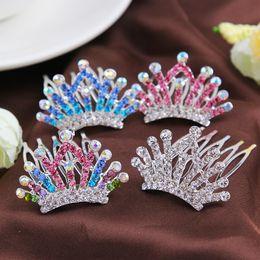 Diamond Crystal Hair Clips Australia - Crown Colorful Crystal Girl Hair Comb Kids Headwear Princess Animal Shape Diamond Headbands Children Hair Clips Accessories