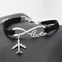 AirplAne brAcelets online shopping - 2018 New Silver Infinity love Plane Charms Airplane Pendant Leather bracelet Popular Jewelry bangles for women men drop shipping