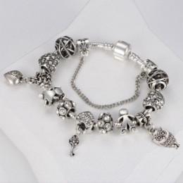 Ingrosso HOMOD 2017 Vintage Pandora braccialetto Coppia chiave perline serpente catena braccialetto di fascino donne gioielli fai da te Dropshipping