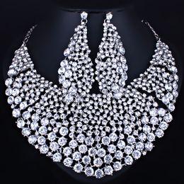 $enCountryForm.capitalKeyWord NZ - whole saleFARLENA Jewelry Full Clear Rhinestones Big Necklace and Earrings for Women Indian Bridal Wedding Jewelry sets