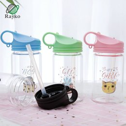 Discount water bottles new straws - New Cartoon Straw Type Glass Water Bottles Creative Children Student Portable Anti Scalding Water Bottle Office Gift Dri