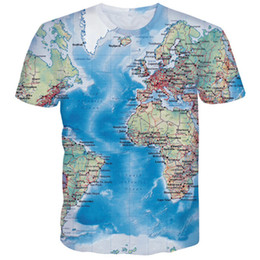 worlds funniest t shirts UK - 3D T Shirt Men World Map T-shirt Funny T Shirts Male 2018 Summer Short Sleeve Anime Tops Tee Fashion Mens Clothing