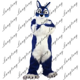 free hair mascot 2019 - 2018 New high quality Long hair blue Wolf Mascot costumes for adults circus christmas Halloween Outfit Fancy Dress Suit