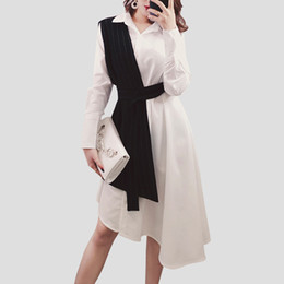 QLZW 2018 new autumn fashion women clothes turn-down collar full sleeve  spliced vest shirt dress two pieces set WB73800 9e2c353c528a
