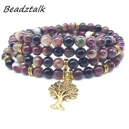 $enCountryForm.capitalKeyWord Australia - BEADZTALK Natural Mala Bracelets Necklace Tourmaline Stone Beads Elastic Charm Bangle Energy Jewelry Gold Metal Color