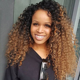 peruvian curly human hair two tone 2019 - new arrival Kinky Curly 150% density two tone color human hair wig #1bT30 ombre lace front wig virgin brazilian full lac
