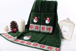 2018 hand embroidered towels 100% cotton green 3 pcs set velvet christmas  towel cartoon snowman