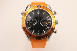 Orange Bezel Canada - Top Sale aaa 600M Co-Axial Professional Black Dial Planet Ocean James Bond Orange Bezel Rubber Quartz Chronograph 45 mm Wrist Men's Watches