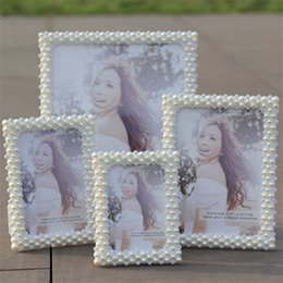 Wholesale art angles for sale – custom Handmade Pearl Photo Frame Decoration Crystal Rhinestone Arts Crafts Gifts Pendulum Table Soft Round Right Angle jr5 bb