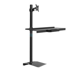keyboard monitors UK - W840 Full Rotation Free Lifting Floor stand Monitor Keyboard Tray Holder monitor stand Sit-Stand Workstation TV wall mount