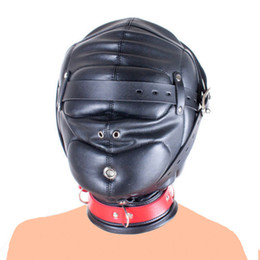 Discount bondage pads - Leather Mask Hood Thick Closed Caps, Soft Padded Hood Mask ,Head Harness Blindfold Bondage Restraint,Adult Sex Toys For