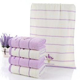 Discount hand embroidered towels - 2pcs set Lavender faceTowel High Quality 100% Cotton Absorbent Antibacterial Soft Comfortable Embroidered hand Towel fre