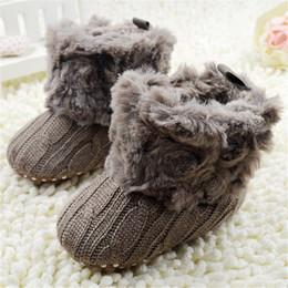 Baby Boot Crochet Wholesale Australia - Baby Infants Crochet Knit Fleece Boots Toddler Girl Boy Snow Booties