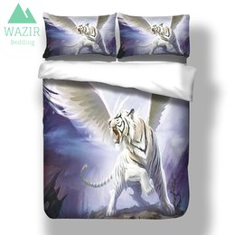 $enCountryForm.capitalKeyWord Australia - WAZIR Flying Apsara- White Tiger 3D Print Bedding Set Quilt Cover Pillowcase SIZE King Queen 3pcs