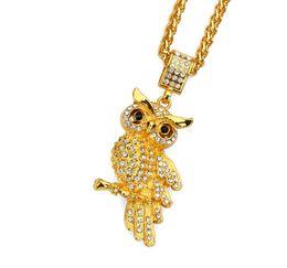 $enCountryForm.capitalKeyWord UK - Fashion Tide Brand Owl Pendant Necklace Black Street Hip Hop Chains for Men\women Bling Bling Rock Jewelry Gift Box