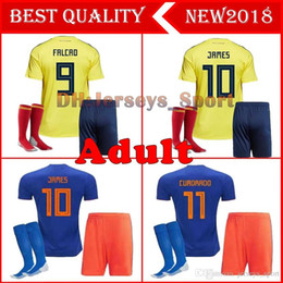 falcao jersey colombia NZ - Adults 2018 World Cup Colombia Soccer Sets Rodriguez James Falcao Cuadrado TEO BACCA SANCHEZ Home Away Kit Colombia Jersey Football Uniform