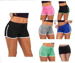 Pink Gym Shorts Canada - Women Yoga Sports Shorts Summer Cotton Gym Drawstring Short Pants Leisure Homewear Fitness Beach Shorts Running Pants Leggings 7 Colors