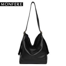 $enCountryForm.capitalKeyWord NZ - MONFERE Super Soft Genuine Leather Casual Hobos for Women Shoulder Bag Liner Bag Adjustable Belt Cowhide High Quality Black Tote