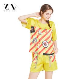 f84d76684d Women Silk Cool Pajamas Sets Top Shorts Striped Sleepwear Lingerie half  Sleeve Women Lingerie 2 piece Satin Pajama