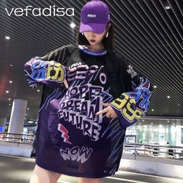 Pullovers For Long Tops Canada - Vefadisa 2018 Autumn Tops for Women Letters Print Sweatshirts and Pullovers Long Sleeve Purple Sweatshirt Thin Sweatshirt AD2038