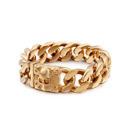$enCountryForm.capitalKeyWord Australia - Dignified 316L Stainless Steel Mens Jewelry 158g Huge heavy cuban Curb Link chain bracelet Skull skeleton Bangle 23mm 9.2''