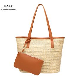 $enCountryForm.capitalKeyWord Canada - 2pcs Weave Straw Ladies Soft Crossbody Bag Summer Beach Shoulder Bags for Women Casual Coin Purse Bucket Tote Handbags for Girl