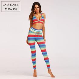 $enCountryForm.capitalKeyWord NZ - Rainbow Printed Women Yoga Set Running Set Colorful Bra Leggings Sports Suit Sports Clothing Gym Tracksuit Workout Sportswear