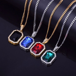 crystal gem drop Australia - Iced Out Mini Square Red Blue Gem Crystal Bling Rhinestone Statement Pendant Necklace 20inch Cuban Chain Drop Shipping Jewelry