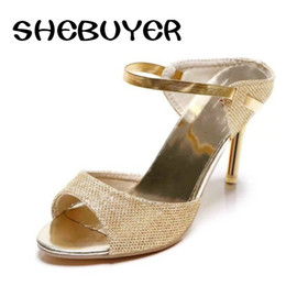 sandals cover toes heel 2019 - 2017 summer Women High Heels Ankle Wrap sandals woman peep toe bling thin high Heels Ladies gold silver Shoes plus size