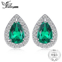 bb97cb0d0 emerald stud earrings 2019 - JewelryPalace 0.85ct Created Emerald Stud  Earrings Charm 925 Sterling Silver