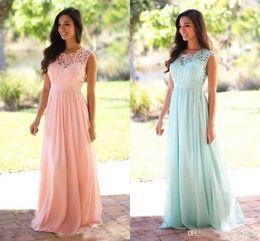 6b9b2412391 Bohemian Wedding Bridesmaid Dress Australia - Blush Pink Bridesmaid Dresses  Bohemian Jewel Cap Sleeves Floor Length