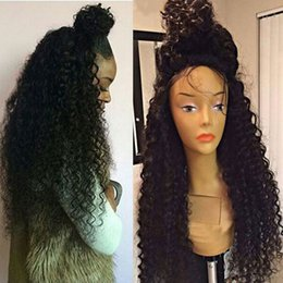 synthetic heat resistant wigs cheap NZ - Afro Kinky Curly Synthetic Wigs For Black Woman Cheap Lace Front Wig Heat Resistant Hair Black Color
