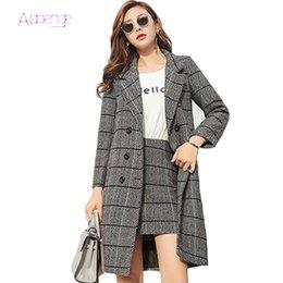 820da087242835 APOENGE Women Plaid 2pcs Suit Set Woolen Long Jacket + Mini Skirt Office  Lady Skirts Button Autumn Outwear Suits 2018 New LZ661