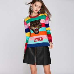 Wholesale rainbow knit sweater resale online – Women Rainbow Pullovers Sweaters Femme Round Neck Emboridery Tiger LOVED Colourful Striped Long Sleeve Sweater Winter Knitted