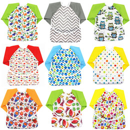 Aprons long online shopping - Baby Toddler Cartoon Overalls Waterproof Long Sleeve Bibs Children Kids Feeding Smock Apron Eating Clothes Burp Cloths styles C4453