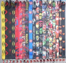 led cards 2019 - Boys Superman Spiderman Iron man Batman Captain America Badge The Avengers Lanyard for Keys ID Cards Holders super hero