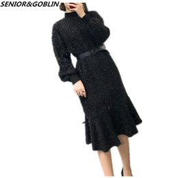 792e3867ccc Fashion 2018 Spring Designer Mermaid Dresses Women s Black Long Sleeve Midi Sweater  Dress Plus Size Party Knitted Dress C18110701