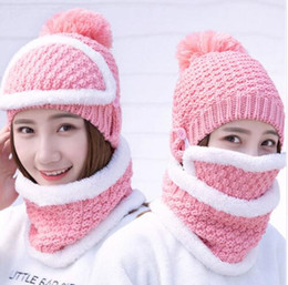 74c3a0a0f90 3pcs Set Women Winter Warm Pom Hat Cap Mask Scarf Neck Plush Wool Knit  Beanies Ring Scarf Masks hat KKA5991