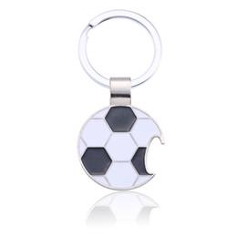 $enCountryForm.capitalKeyWord NZ - Trendy Football Key Chain Creative Beer Bottle Opener Keychain Enamel Black White Soccer Key Ring Unisex Sport Jewelry Chaveiro