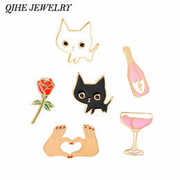 Champagne Coupes Australia - QIHE JEWELRY Champagne Coupe Saucer Rose Flower Heart Shape White Cat Black Cat Lapel Pins Animal Brooch