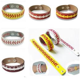 Discount stitch bracelet - Gum For Bracelets Girls Sport Seamed Leather Bracelets Herringbone Softball Fast Pitch Baseball Stitch cuff Unisex Men B