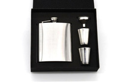 $enCountryForm.capitalKeyWord UK - Portable Stainless Steel Whiskey Wine Pot Bottle Vodka Flagon Hip Flask Gift Box with Hip Flask Funnel and 2 Cups A191