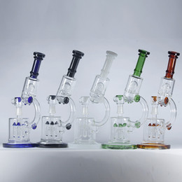 Wholesale Microscope Oil Rigs Double Recycler with Rocket UFO Perc Thick Glass Water Pipes Bongs quot inch Hookahs Beaker Pipes mm Joint