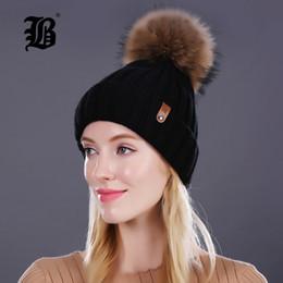 Beanies For Winter Australia - [FLB] Wholesale Real Mink Fur Pom Poms Knitted Hat Ball Beanies Winter Hat For Women Girl 'S Wool Hat Cotton Skullies Female Cap S18101708