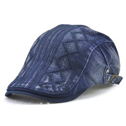 flat hats for women UK - New Fashion Summer Denim Berets Cap for Men Women Washed Denim Hat Unisex Outdoor Jeans Hat Adjustable sports hats for bone Luxury hats