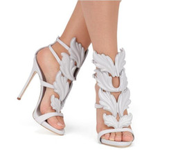 China 2018 Designer Flame metal leaf Wing High Heel Sandals Gold Nude Black Party Events Shoes Size 35 to 40 cheap leather silver wedding sandals suppliers