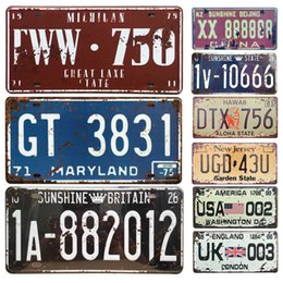 Discount car plaque - New United States Car License Metal Plate Home Decor Tin Signs Bar Pub Cafe Decor Metal Sign Garage Painting Plaque Stic