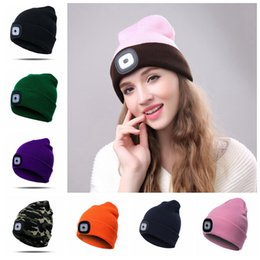 LED Outdoor Knitted Hat Beanie Battery Type Camping Climbing Fishing LED  Head Light Cap Winter Warm Woolen Outdoor Hats OOA5686 36735c25374